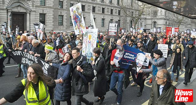 2,000 MARCH ON EVE OF ASSANGE EXTRADITION HEARING!