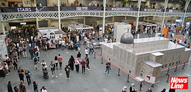A section of the floor at the Palestine Expo festival included a model of Jerusalem's Al Aqsa Mosque
