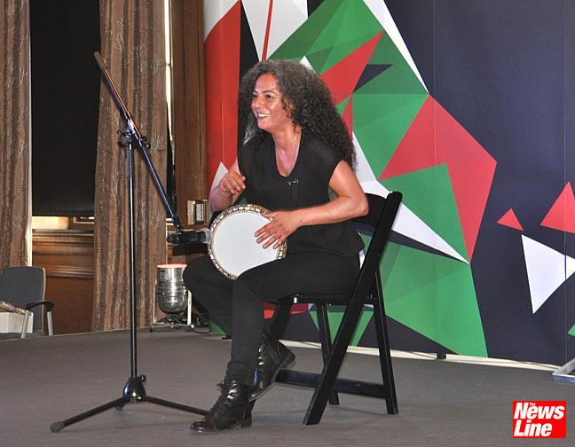 105  Palestinian artist SIMONA ABDALLAH gave a tremendous performance playing the darbuka