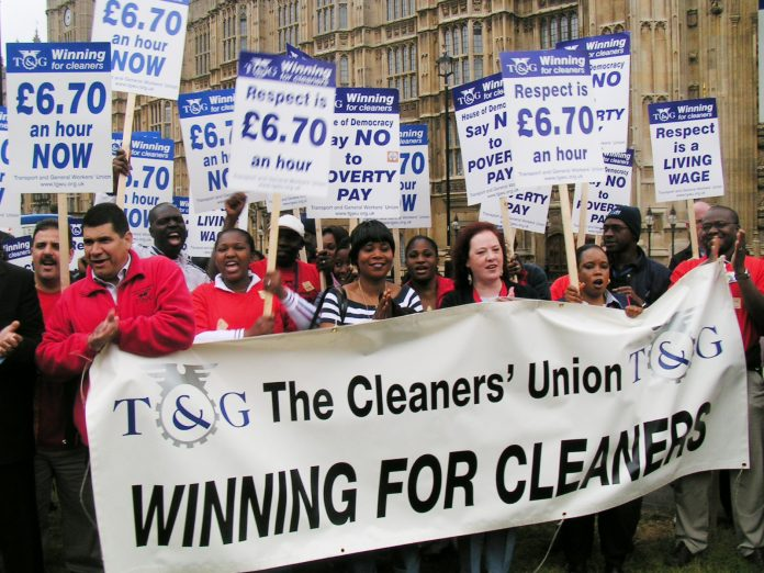 Parliament cleaners demonstratingat the launch of their strike ballot on June 15