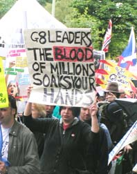 G8 demonstrators condemn the imperialist  occupation