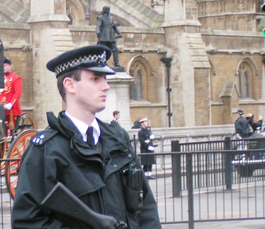 Armed police outside parliament  – now appearing all over London