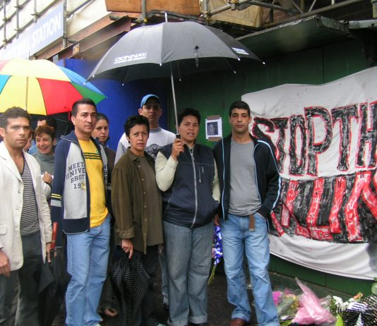 Family and friends of Jean Charles de Menezes outside Stockwell tube station yesterday