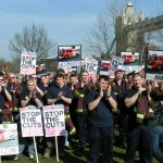 London firefighters demonstrating against cuts earlier this year