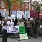Picket outside Bow Street Magistrates Court demanding 'Stop the Political Terror' and 'Free Babar Ah