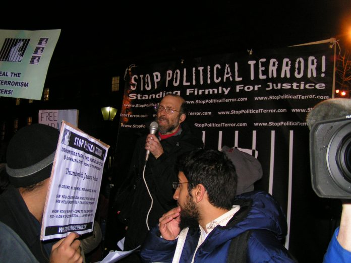 Demonstration on January 20 outside the US embassy in London against Bush and Blair's 'war on terror