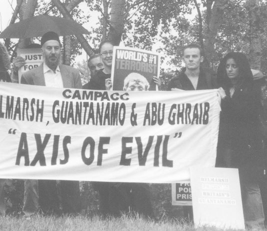 Demonstration outside Belmarsh prison last October against detentions without trial