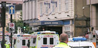 Ambulances queue up outside Aldgate Tube station on July 7 – the Royal Free Hospital treated 61 casu