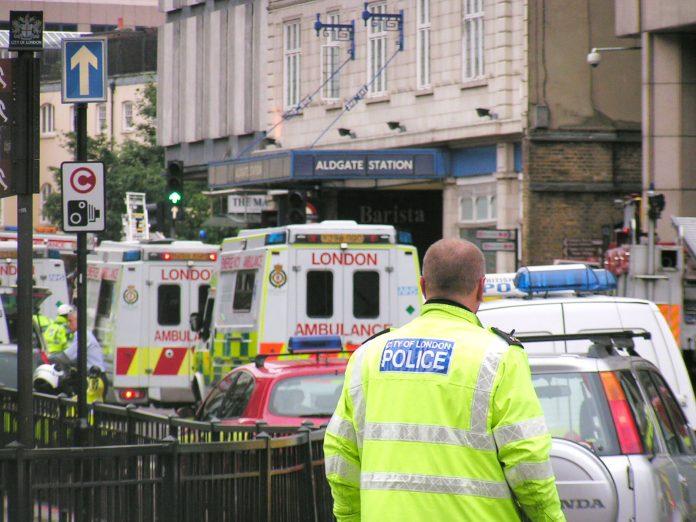 Ambulances queue up outside Aldgate Tube station on July 7 – the Royal Free Hospital treated 61 casu