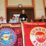Chairman NORMAN CANDY (CWU London Divisional Committee) opening the mass rally against privatisation in central London yesterday