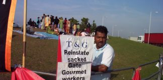 Gate Gourmet sacked workers on the picket line, angry at their union leaders who are cringing before the management
