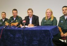 UNISON General Secretary DAVE PRENTIS (centre) with Ambulance workers PHIL BELL, mark belkin, paramedic ANDREA SHIELDS and duty station officer MOHAMMED HALAWI