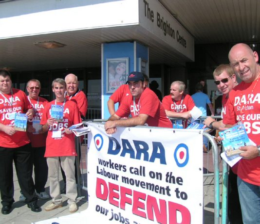 Amicus members from the DARA defence plant in south Wales lobbying to defend 1,000 jobs