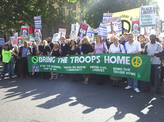 The head of the London march in Whitehall shortly after setting off from Parliament Square