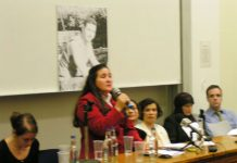 MARIA OTONE DE MENEZES, mother of Jean Charles addressing the packed London meeting on Monday night