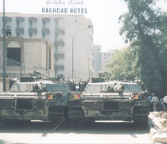 US tanks block the road in central Baghdad