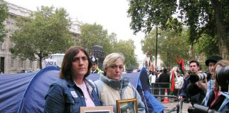 ROSE GENTLE and SUSAN SMITH at the start of their Peace Camp outside Downing Street yesterday afternoon