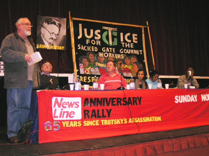 All Trades Unions Alliance Secretary DAVE WILTSHIRE addressing the News Line Anniversary rally