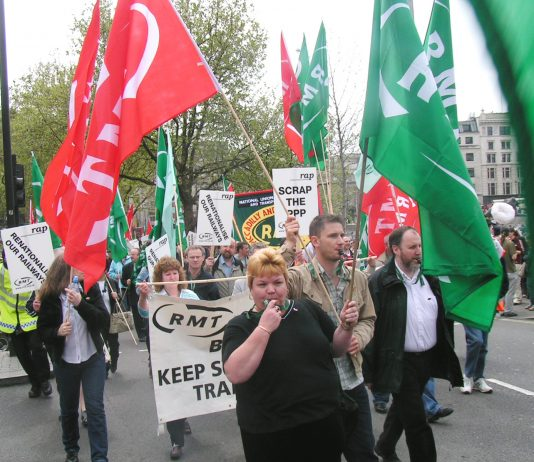 RMT 'Rail Against Privatisation' demonstration in London on April 30 calls for the scrapping of the PPP privatisation of the Tube network