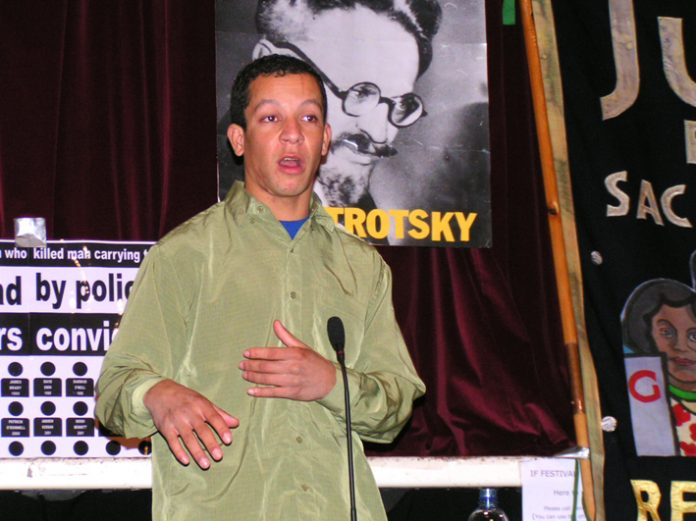 ALEX PEREIRA, cousin of Jean Charles de Menezes – who was murdered by the police at Stockwell tube on Friday 22nd July – addressing the News Line Anniversary Rally last Sunday