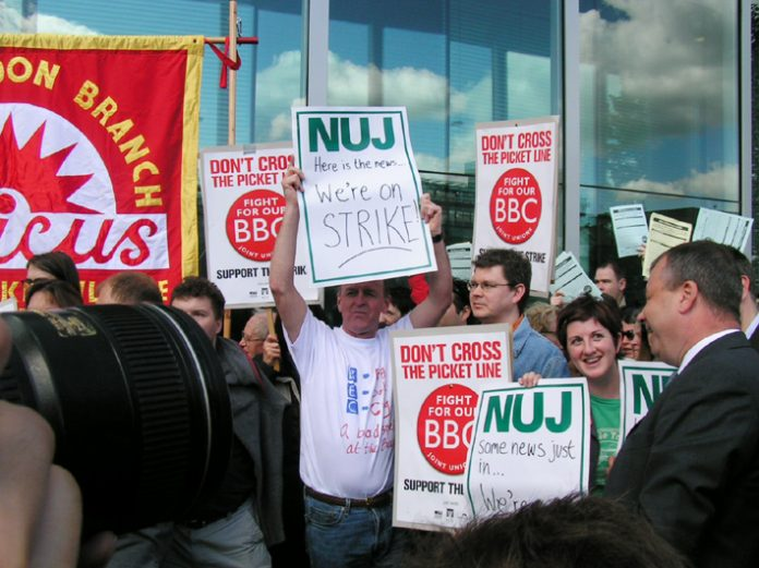 Striking members of Amicus, Bectu and the NUJ at a lunchtime rally at the Television Centre, White City  on May 23 this year