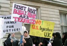 Demonstration in May this year for the release of Babar Ahmad – Home Secretary Charles Clarke has recently ordered his extradition to the US on trumped up terror charges which carry a death sentence