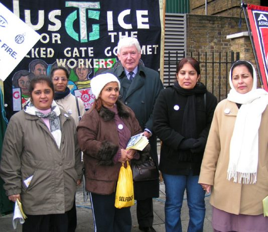 Locked-out Gate Gourmet workers with ASLEF General Secretary KEITH NORMAN at Saturday's King's Cross rally
