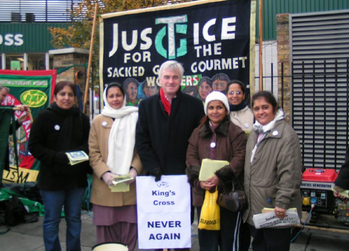 Labour MP JOHN McDONNELL with locked-out Gate Gourmet workers at a 'Defend Fire Safety' rally at Kings Cross last Saturday