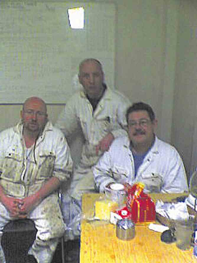 Ships officers on board the Isle of Inishmore (left to right) BIRAN WHITFIELD, JOHN CURRY and GARY JONES