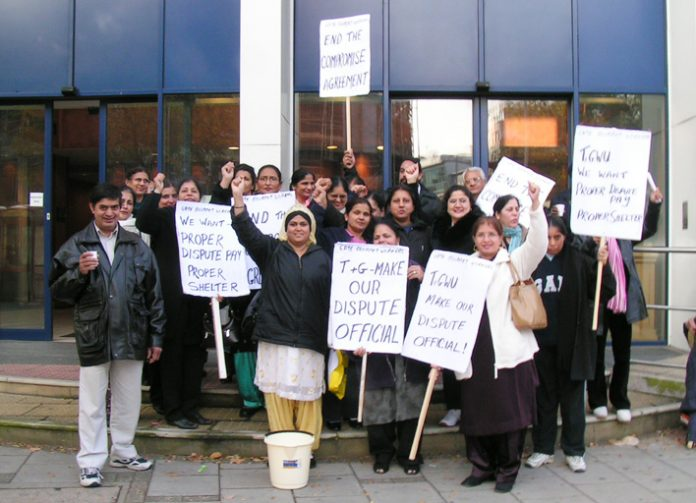 A delegation of Gate Gourmet  sacked workers outside TGWU headquarters on November 22 after meeting Brendan Gold TGWU national secretary, and insisting that they will not accept the Compromise Agreement