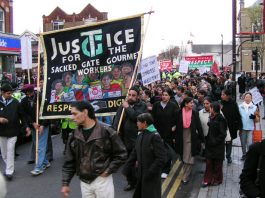 The front of Sunday's 1,000-strong march through Southall