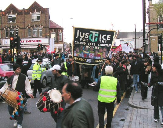 The front of the 1,000-strong march of Gate Gourmet workers and supporters in Southall on Sunday