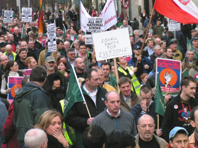 Irish workers demanding 'Equal Rights for Everyone' on last Friday's 100,000-strong march through Dublin