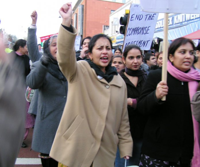 Locked-out Gate Gourmet workers demand the end of the  sell-out 'Compromise Agreement' on their march in Southall earlier this month