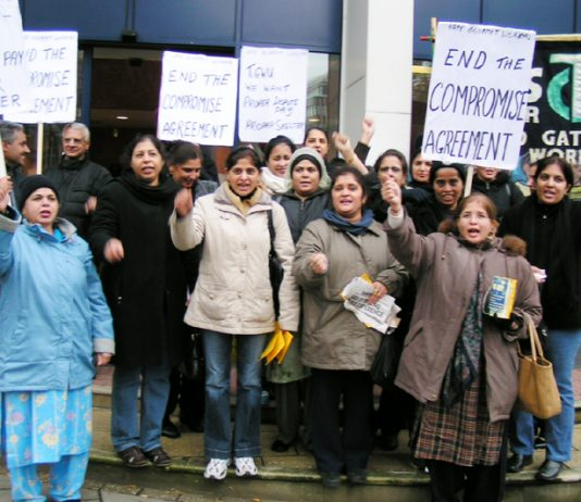 Locked -out gate Gourmet workers during their successful lobby of the TGWU Executive meeting earlier this month