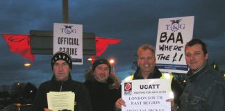 Terminal 5 building workers on the picket line early yesterday morning outside Hatton Cross tube
