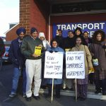 A lively delegation of Gate Gourmet locked-out workers outside the TGWU offices in Hillingdon yesterday morning