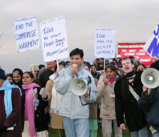 Locked-out Gate Gourmet workers marching during their Xmas picket at Heathrow last Sunday