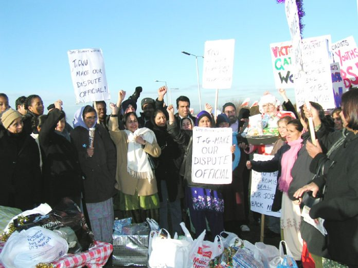 Gate Gourmet locked-out workers at their Xmas picket at Heathrow. The remain determined to win their jobs back and are standing firm