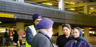 Gate Gourmet locked-out workers campaigning at Heathrow for their conference to fight for their reinstatement