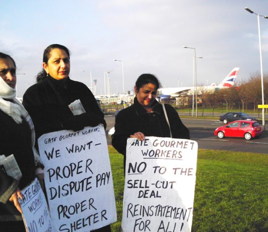 Gate Gourmet locked-out workers on the picket line at Heathrow yesterday – other pickets were out campaining at local workplaces for their conference