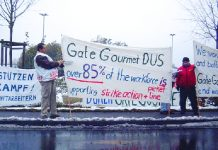 Gate Gourmet strikers at Düsseldorf are maintaining  their picket in the heavy snow