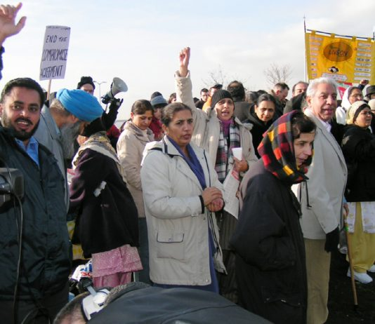 A section of yesterday's 150-strong mass picket