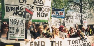 London demonstration in May 2004 calling for an end to the occupation of Iraq