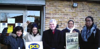 Gate Gourmet locked-out workers on the PCS picket line yesterday  morning with local MP John McDonnell (centre)
