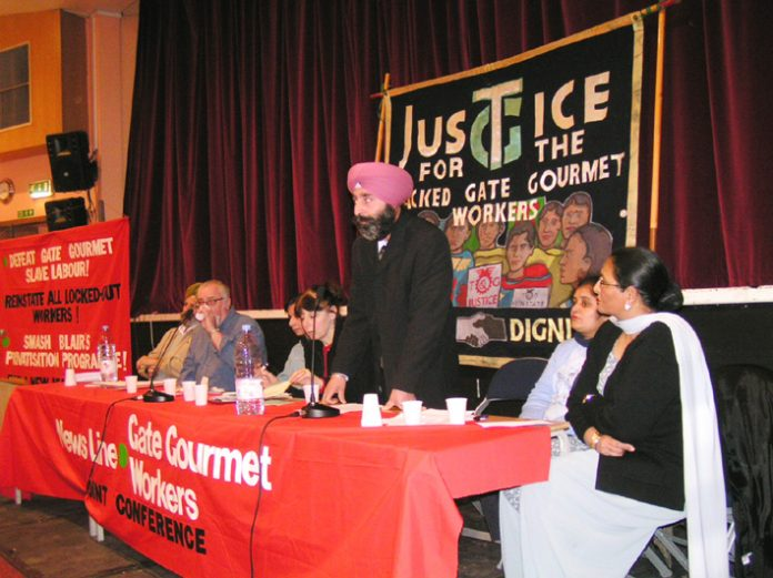 Locked-out Gate Gourmet worker HARBINDER SINGH addressing the conference from the platform