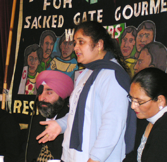 Gate Gourmet locked-out worker PARMJIT bains addressing the conference