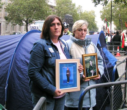 Mothers of British troops killed in Iraq, ROSE GENTLE and SUE SMITH holding a  vigil outside Downing Street last October