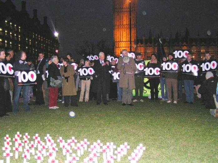 Over 400 attended the vigil outside Parliament following the death of the 100th British soldier