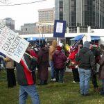 UAW Delphi Protesters assemble outside the Detroit Motor show